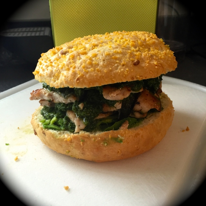 stacked green pig sandwich