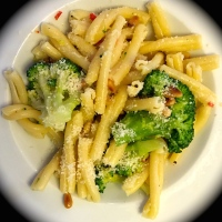 Pasta with Broccoli, Red Chili Pepper and Pine Nuts