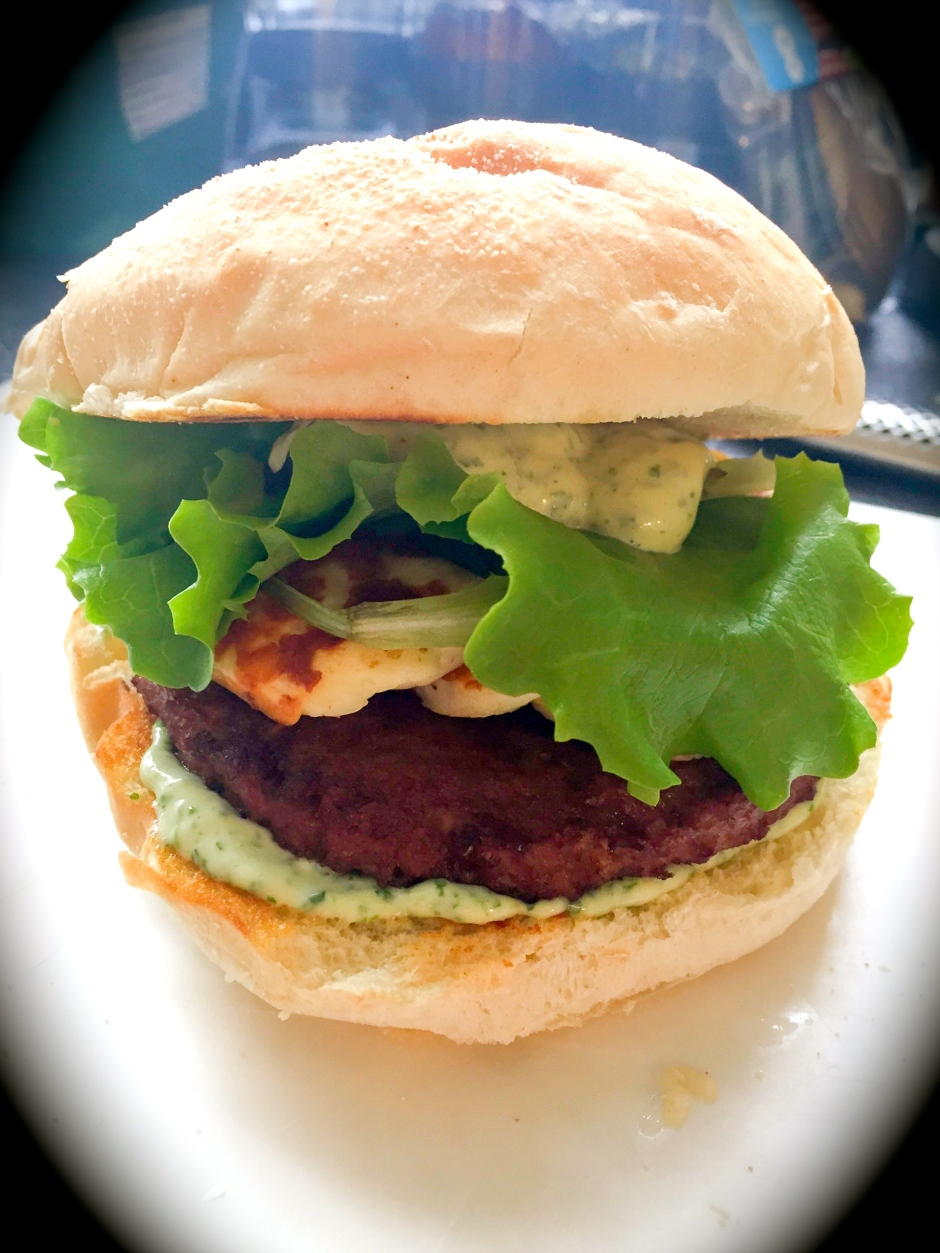 veggie burger with haloumi