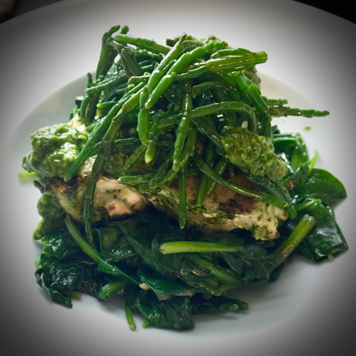 Grilled Encrusted Tuna Steak with Sautéed Spinach and Samphire