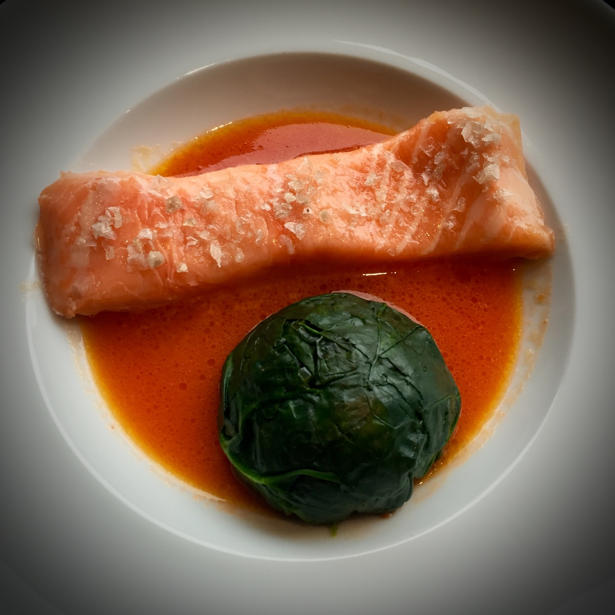 Confit Salmon with Spinach and Tomato by George Calombaris