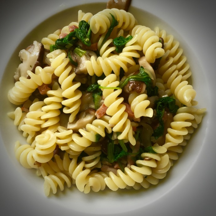 fusilli with wilted greens