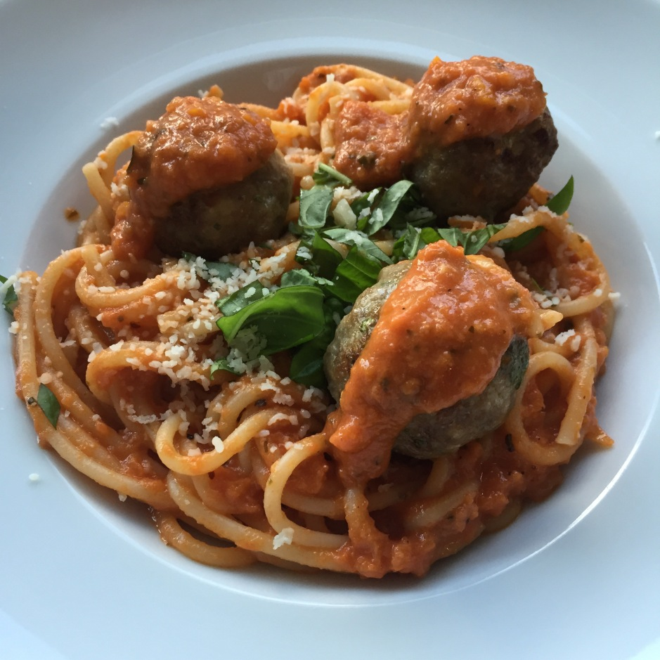 spaghetti and ovenbaked meatballs