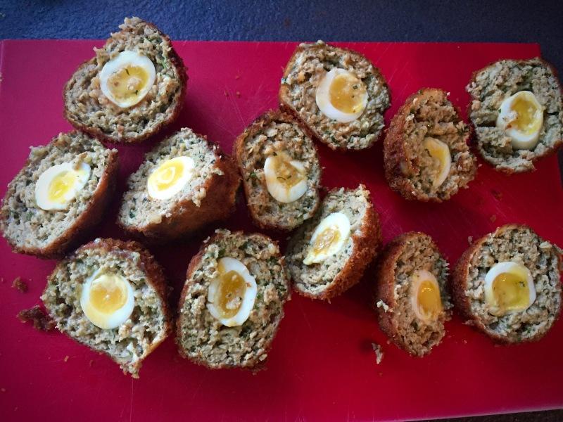 scotch quail eggs halved