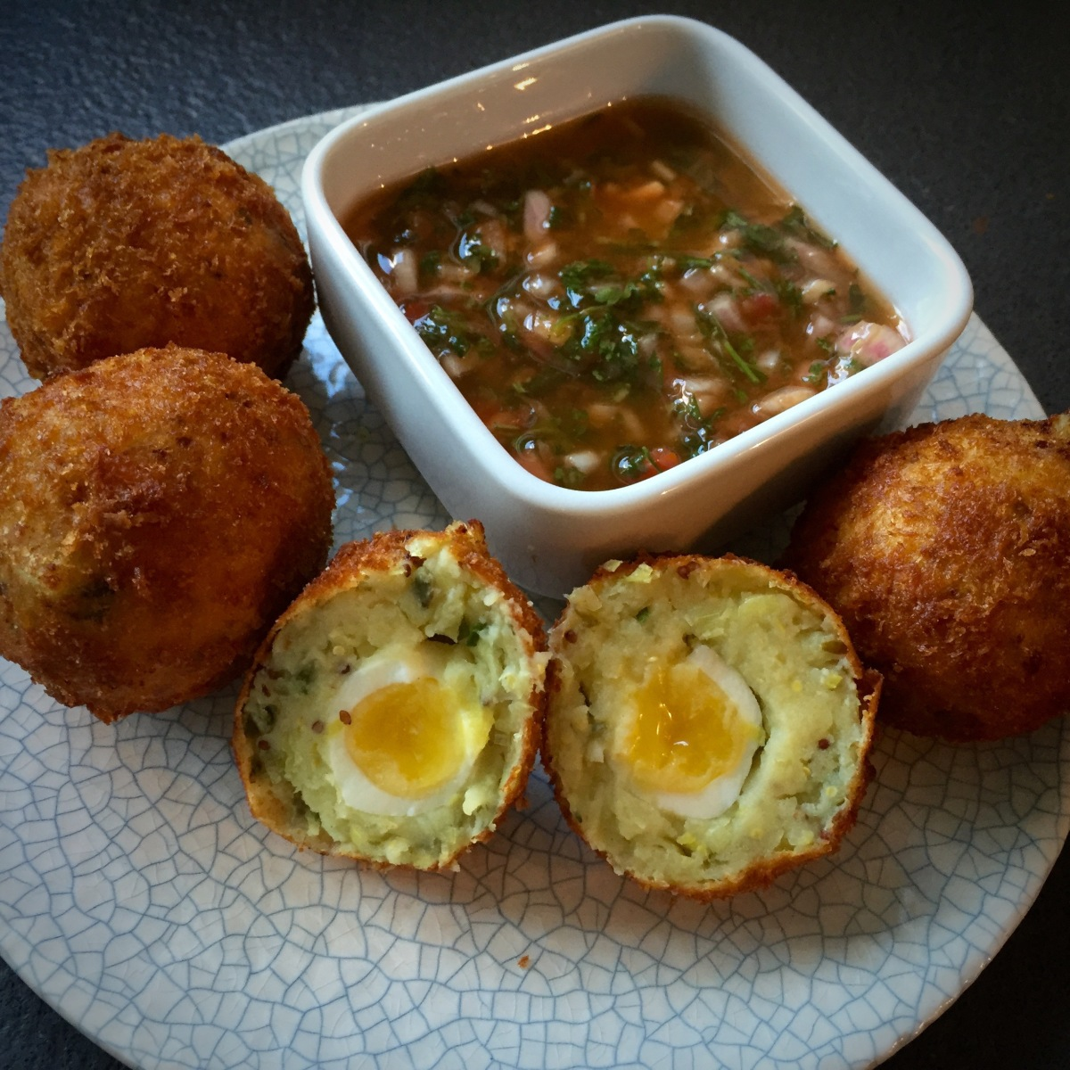 Leek, Chive And Caper Scotch Eggs by Mildreds