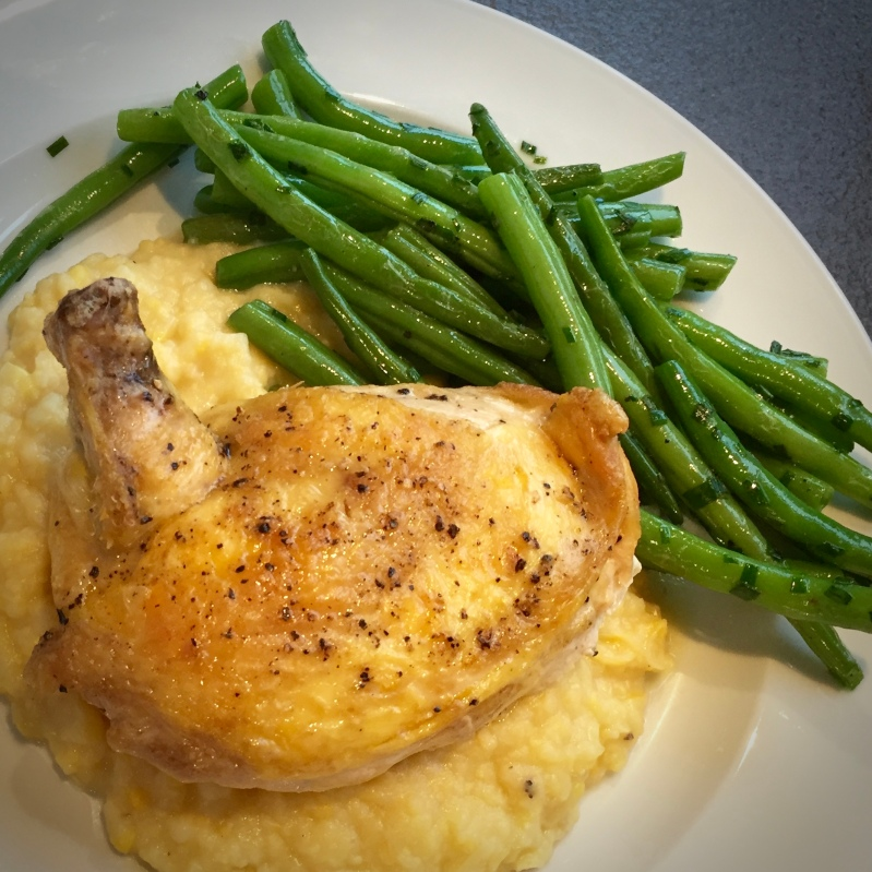 Grilled chicken with corn mashed potatoes and green beans