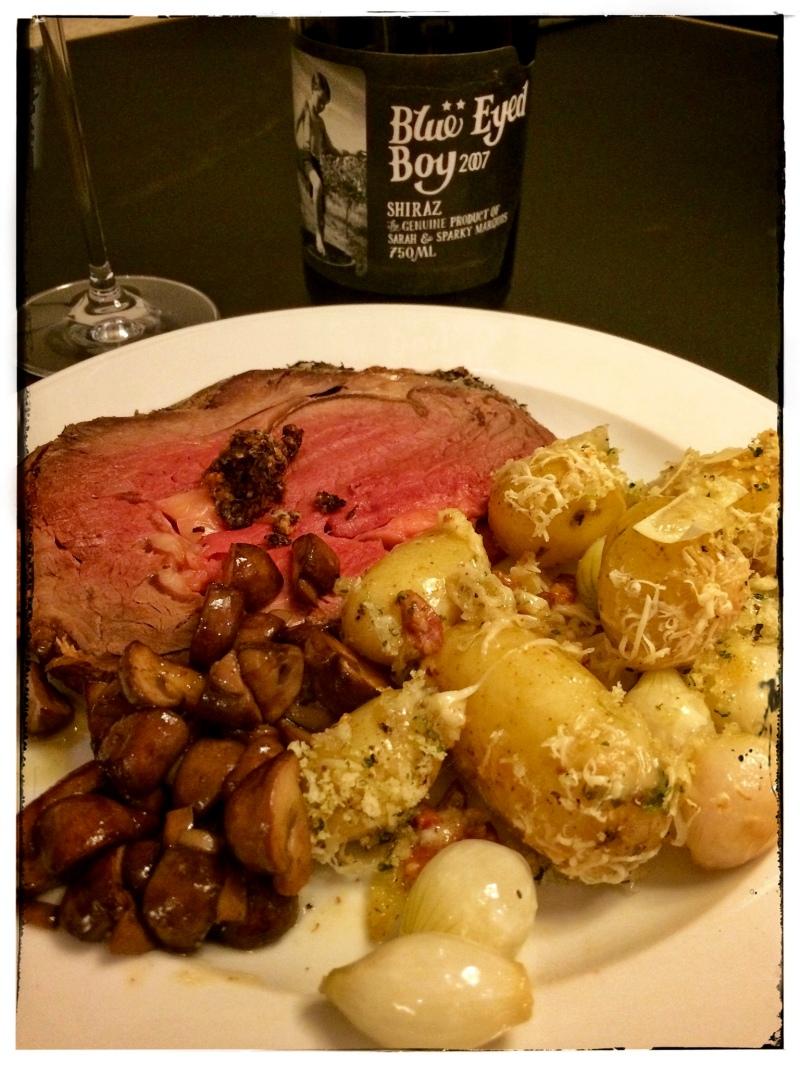 rib roast with new potato gratin