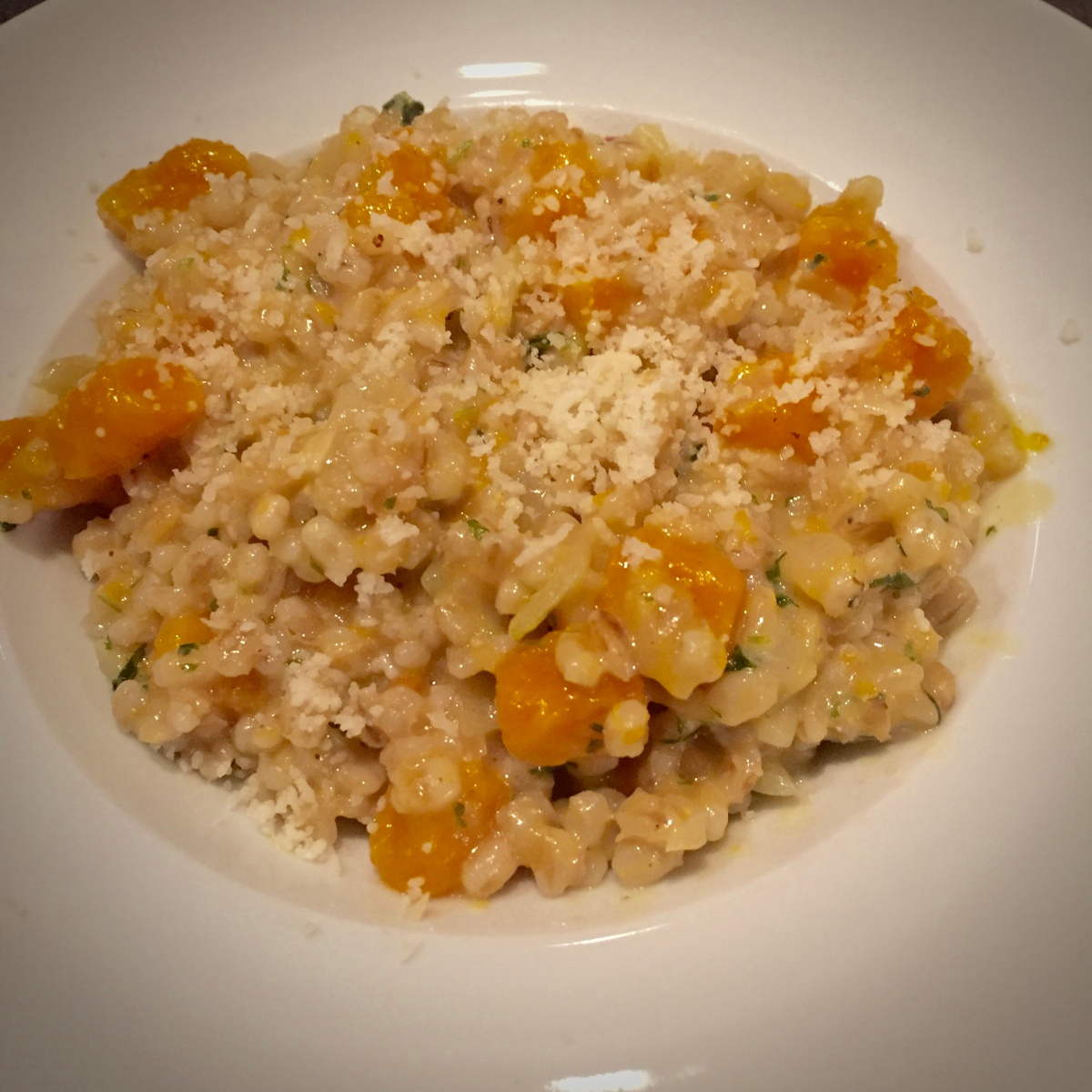 """Pearl Barley """"Risotto"""" with Roasted Butternut Squash"""