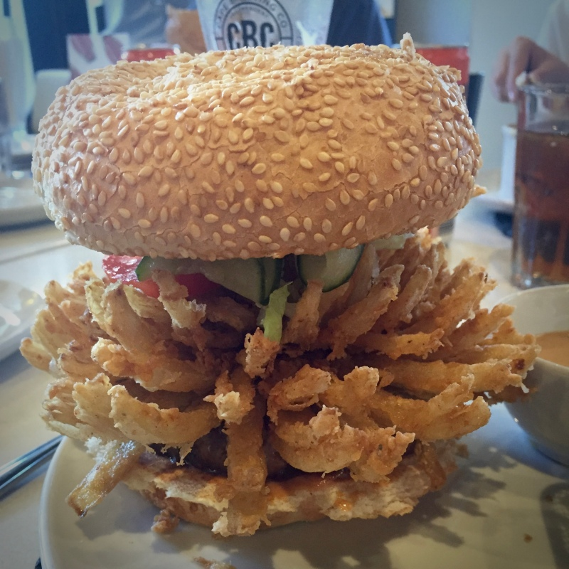 """Onion Blossom (R110), """"Gibson's Burger with our signature onion blossom and topped with our No.6 Sauce"""""""