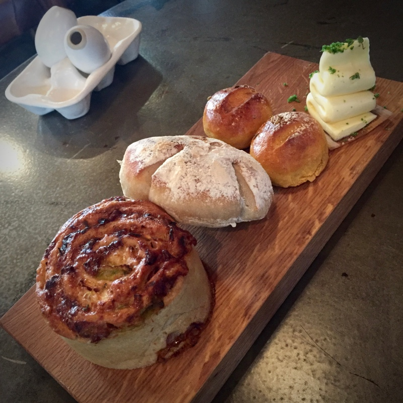 3 types of home made bread and butter. All were delicious, but the burnt leek and cheese roll was to die for!