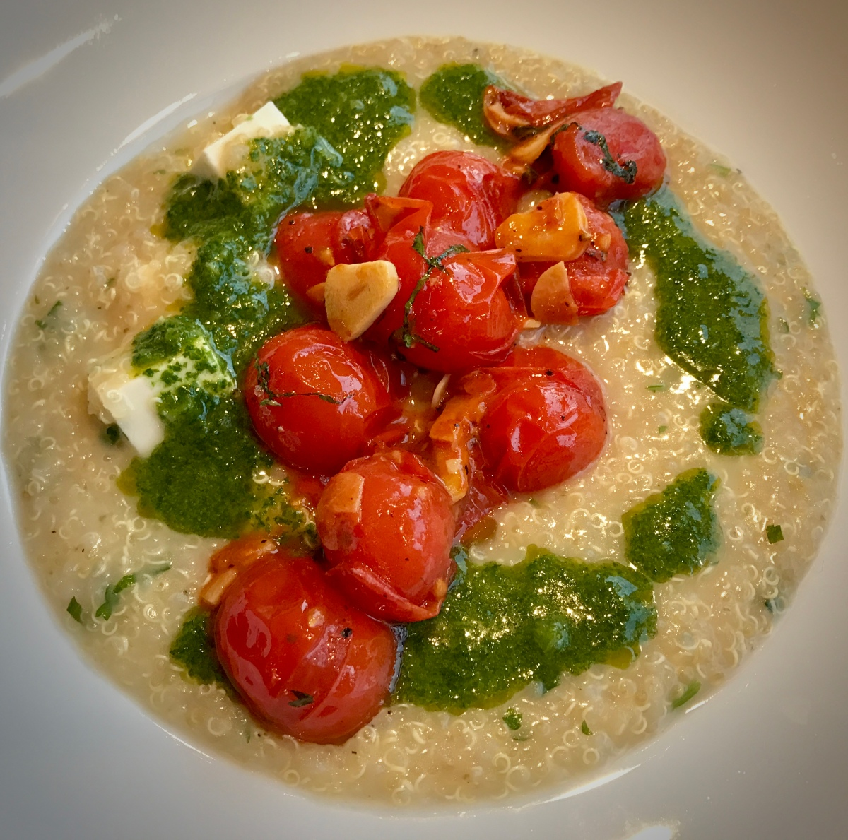 Quinoa Porridge with Grilled Tomatoes and Herb Oil