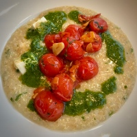 Quinoa Porridge with Grilled Tomatoes and Herb Oil by Yotam Ottolenghi