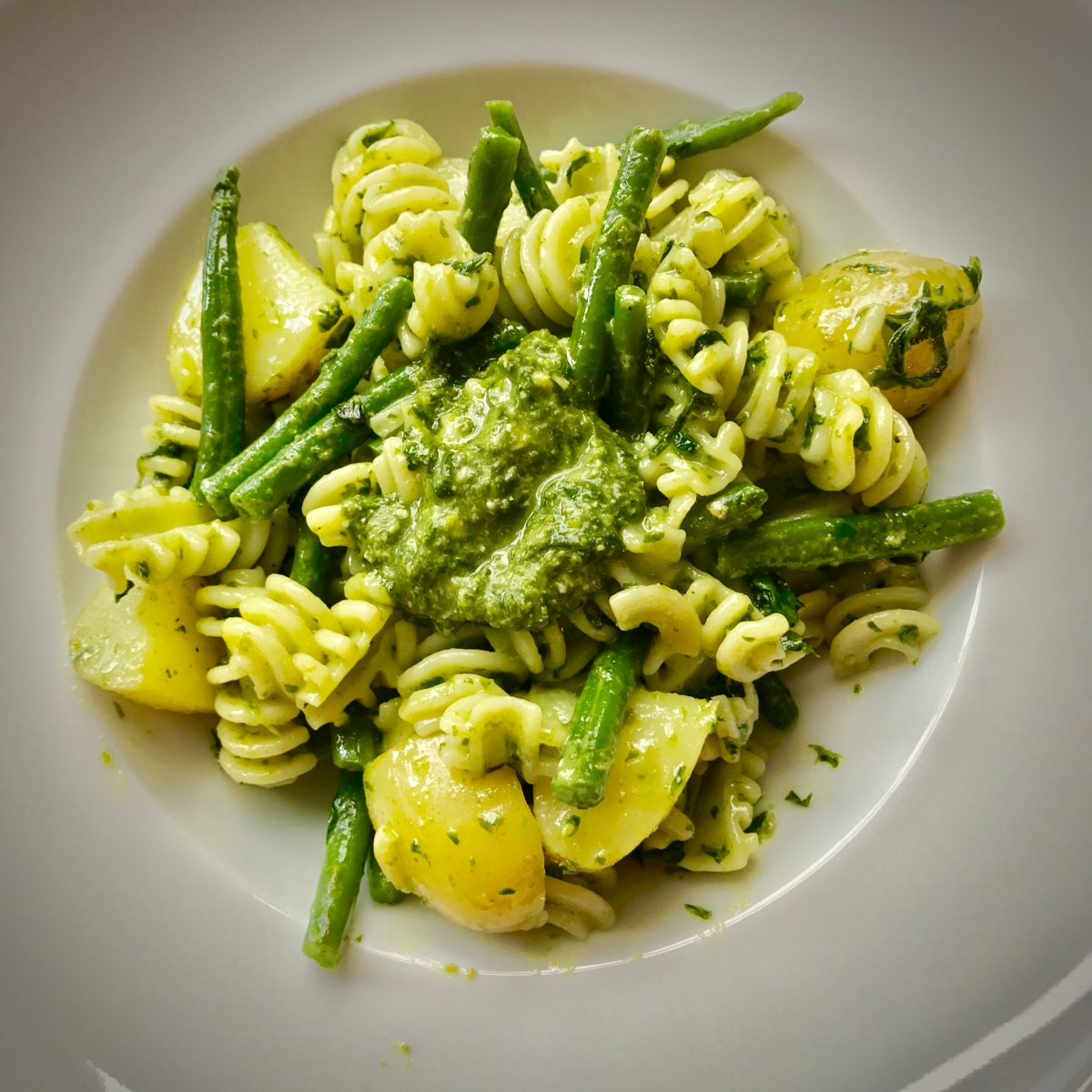 Pasta with Pesto, Green Beans and Potatoes