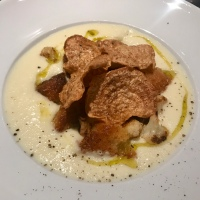 Cream of Cauliflower Soup with Beet Chips by Thomas Keller