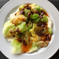Cabbage with Ginger Cream and Szechuan Chili Oil by Yotam Ottolenghi