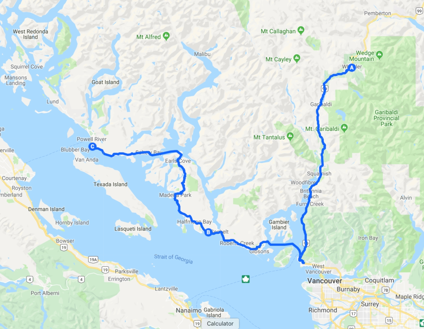 Whistler to Powell River